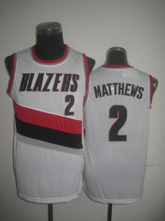 Blazers 2 Matthews White Jerseys