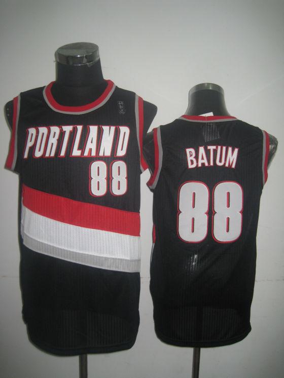 Blazers 88 Batum Black Jerseys