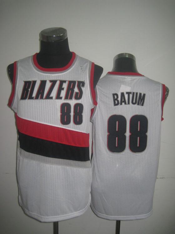 Blazers 88 Batum White Jerseys