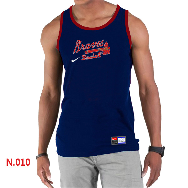 Nike Atlanta Braves Home Practice Men Tank Top D.Blue