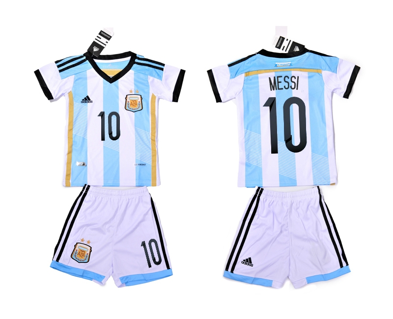 Argentina 10 Messi 2014 World Cup Home Youth Soccer Jersey