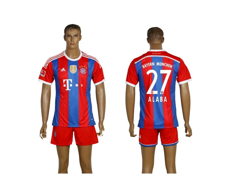 2014-15 Bayern Munchen 27 Alaba Home Soccer Jersey