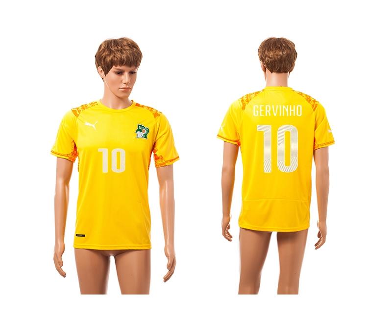 Cote d'Ivoire 10 Gervinho 2014 World Cup Home Thailand Jersey
