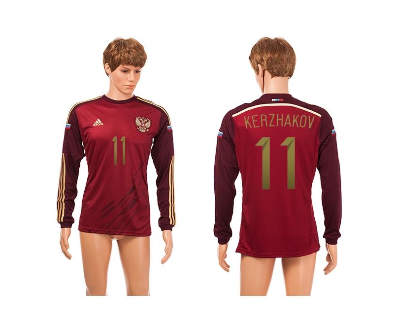 Russia 11 Kerzhakov 2014 World Cup Home Long Sleeve Thailand Jerseys