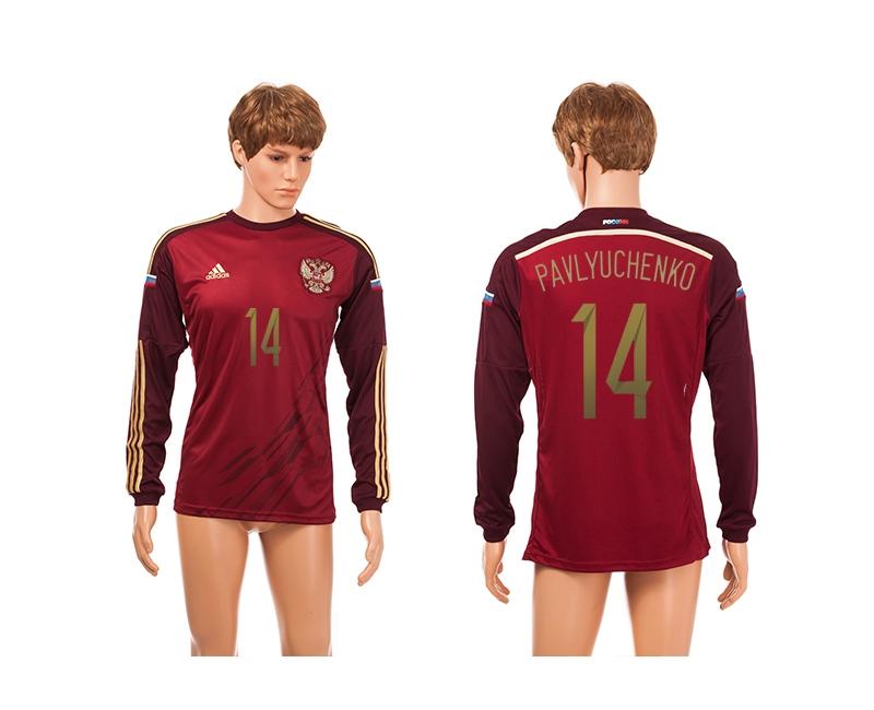 Russia 14 Pavlyuchenko 2014 World Cup Home Long Sleeve Thailand Jerseys