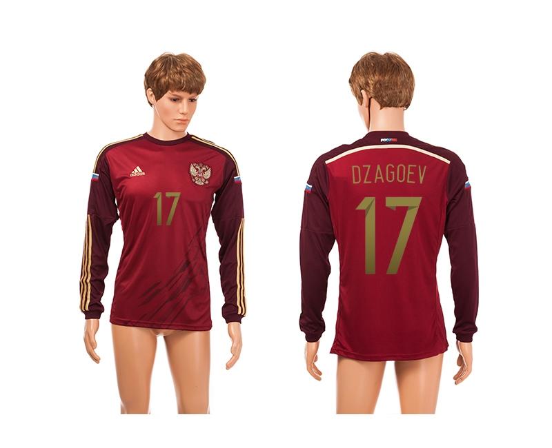 Russia 17 Dzagoev 2014 World Cup Home Long Sleeve Thailand Jerseys