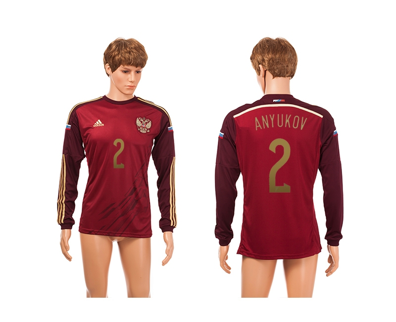 Russia 2 Anyukov 2014 World Cup Home Long Sleeve Thailand Jerseys