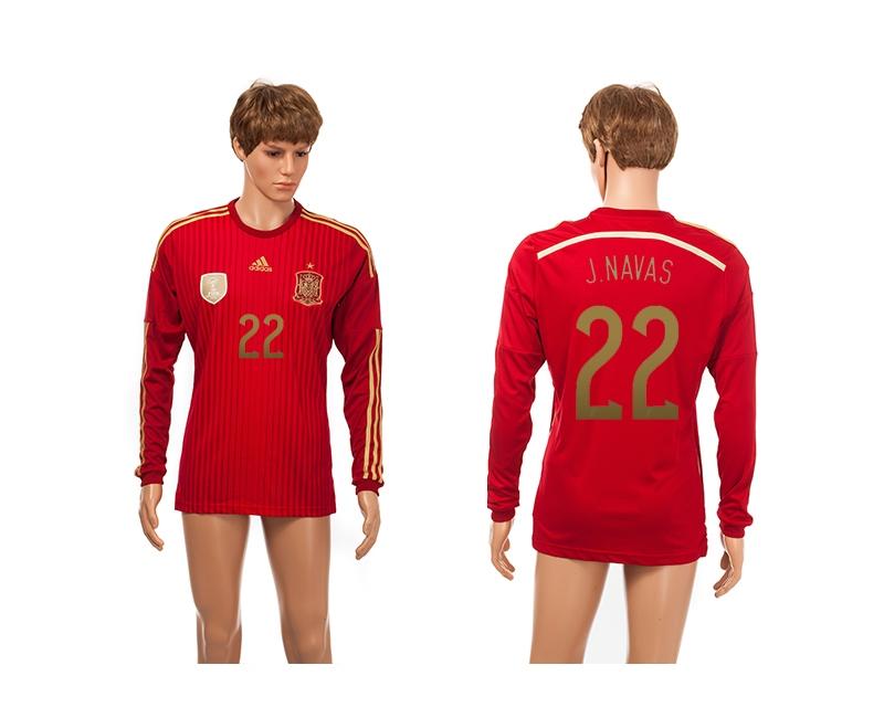 Spain 22 J.Navas 2014 World Cup Home Long Sleeve Thailand Jerseys