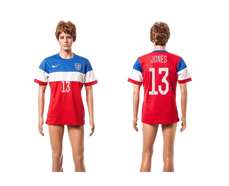 USA 13 Jones 2014 World Cup Away Thailand Jersey