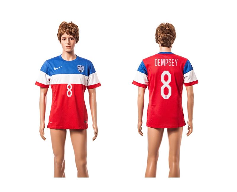 USA 8 Dempsey 2014 World Cup Away Thailand Jersey