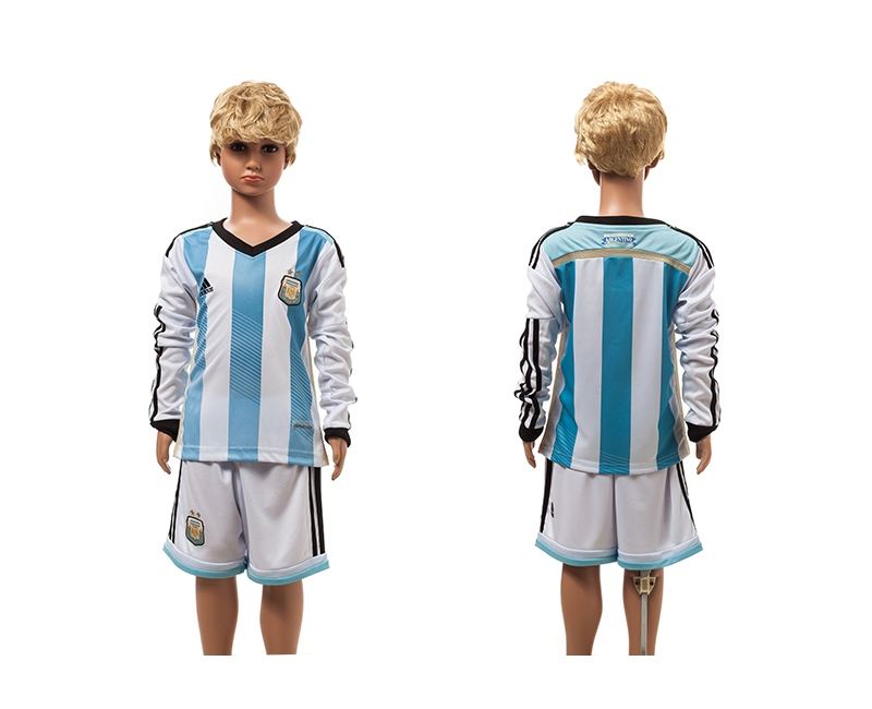 Argentina 2014 World Cup Home Long Sleeve Youth Jerseys