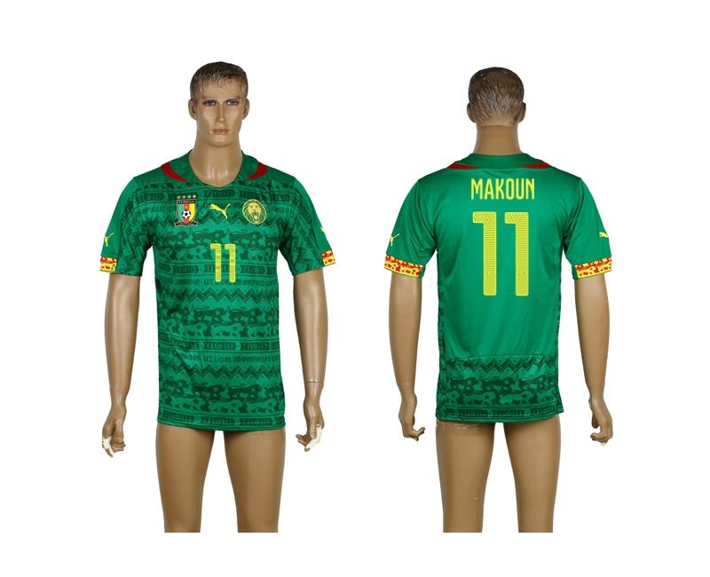 Cameroon 11 Makoun 2014 World Cup Home Thailand Jerseys