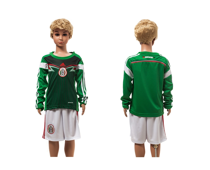 Mexico 2014 World Cup Home Long Sleeve Youth Jerseys