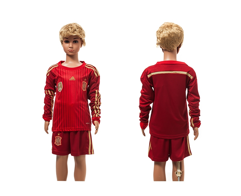 Spain 2014 World Cup Home Long Sleeve Youth Jerseys