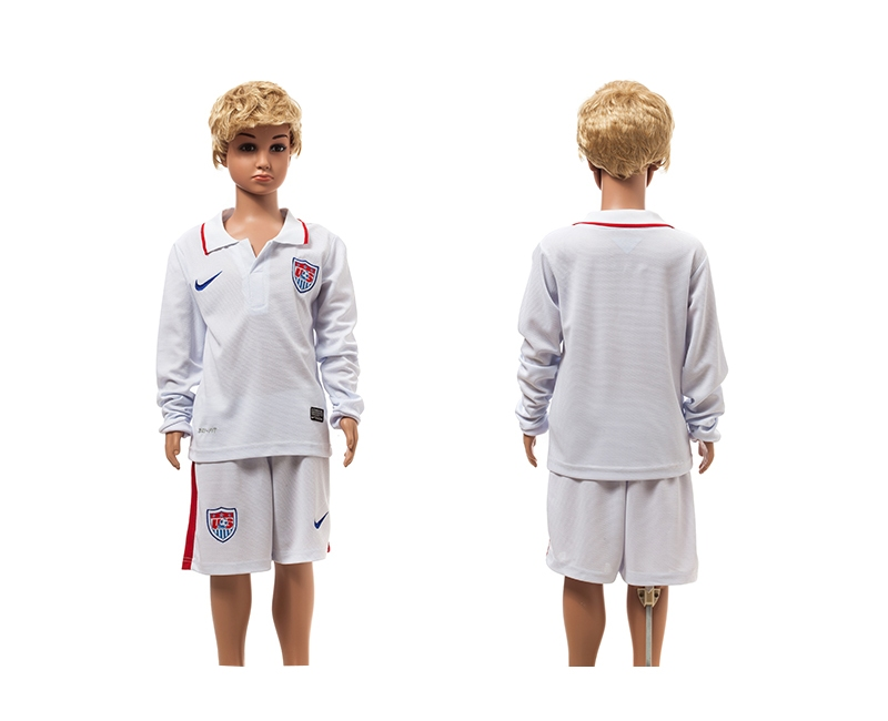 USA 2014 World Cup Home Long Sleeve Youth Jerseys