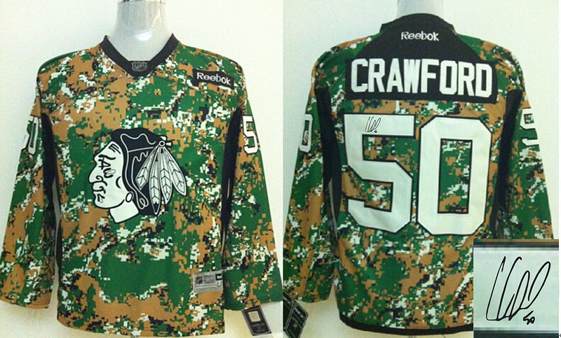 Blackhawks 50 Crawford Camo Signature Edition Jerseys
