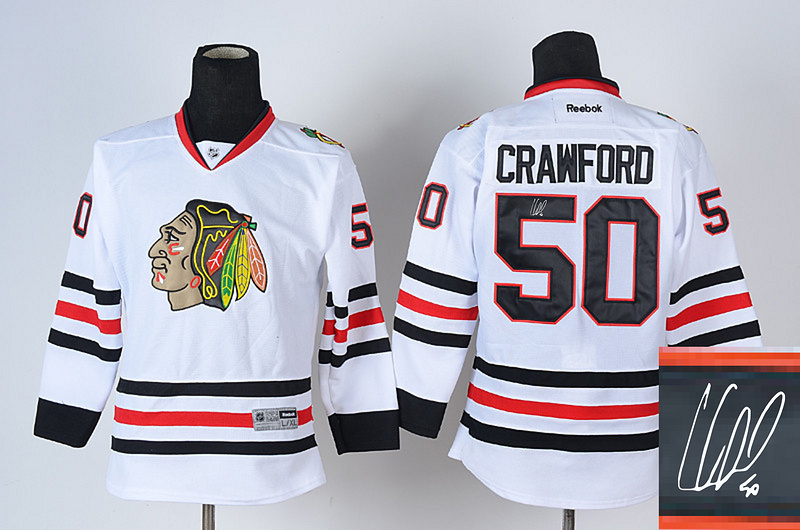 Blackhawks 50 Crawford White Signature Edition Youth Jerseys