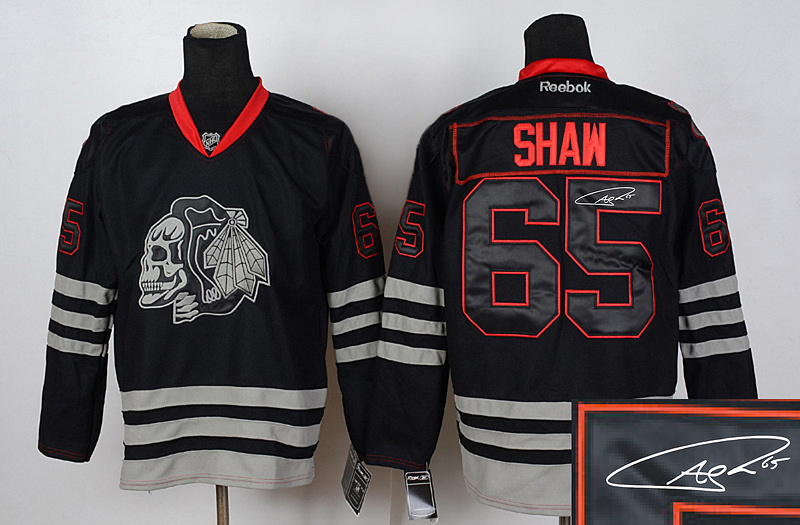 Blackhawks 65 Shaw Black Skulls Signature Edition Jerseys