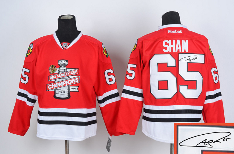 Blackhawks 65 Shaw Red 2013 Stanley Cup Champions Signature Edition Jerseys