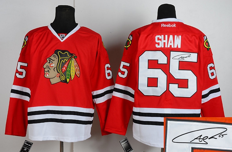 Blackhawks 65 Shaw Red Signature Edition Jerseys