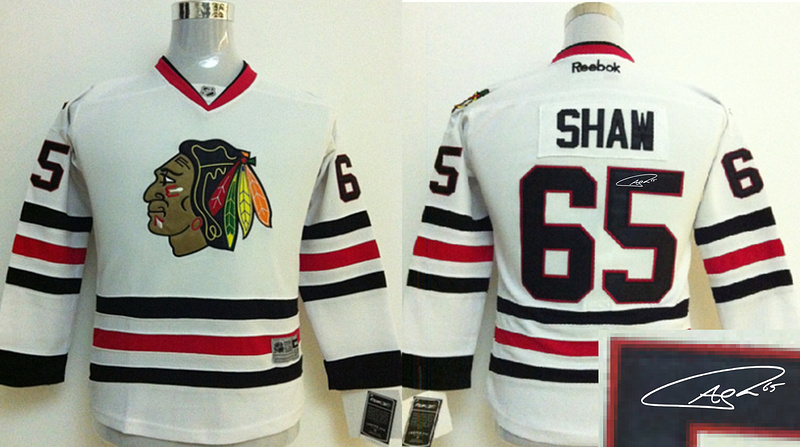 Blackhawks 65 Shaw White Signature Edition Youth Jerseys