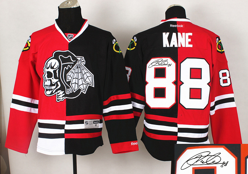 Blackhawks 88 Kane Red&Black Split Black Skulls Signature Edition Jerseys
