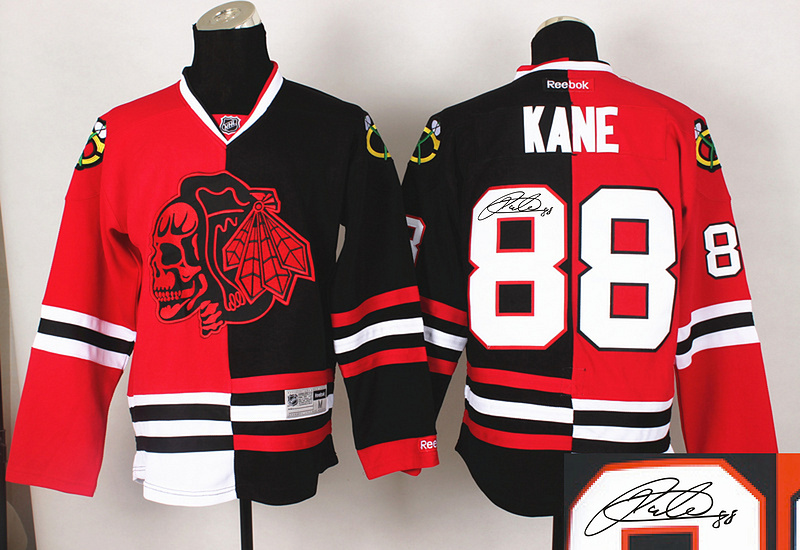 Blackhawks 88 Kane Red&Black Split Red Skulls Signature Edition Jerseys