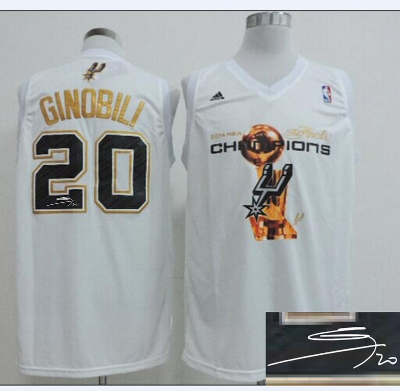 Spurs 20 Ginobili White 2014 Champions Signature Edition Jerseys