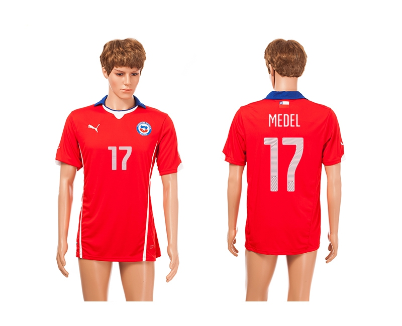 Chile 17 Medel 2014 World Cup Home Thailand Jerseys