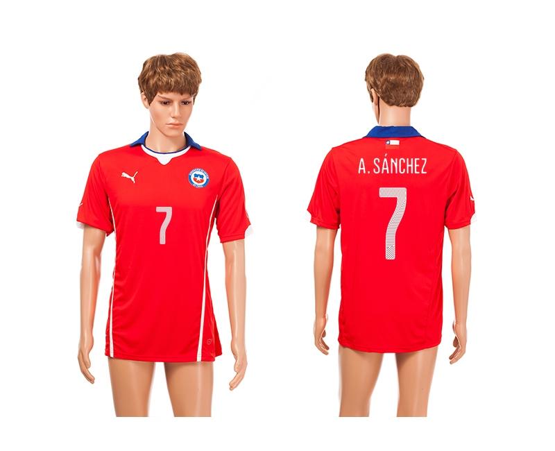 Chile 7 A.Sanchez 2014 World Cup Home Thailand Jerseys