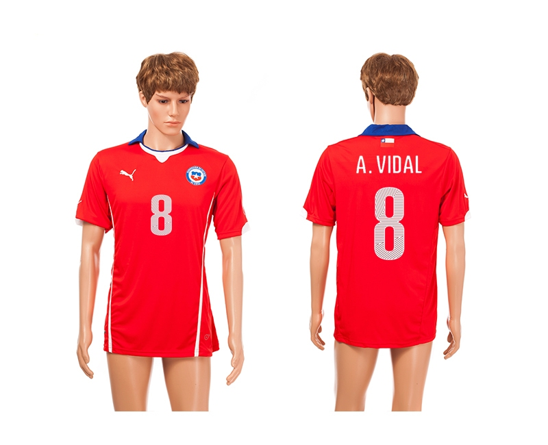 Chile 8 A.Vidal 2014 World Cup Home Thailand Jerseys