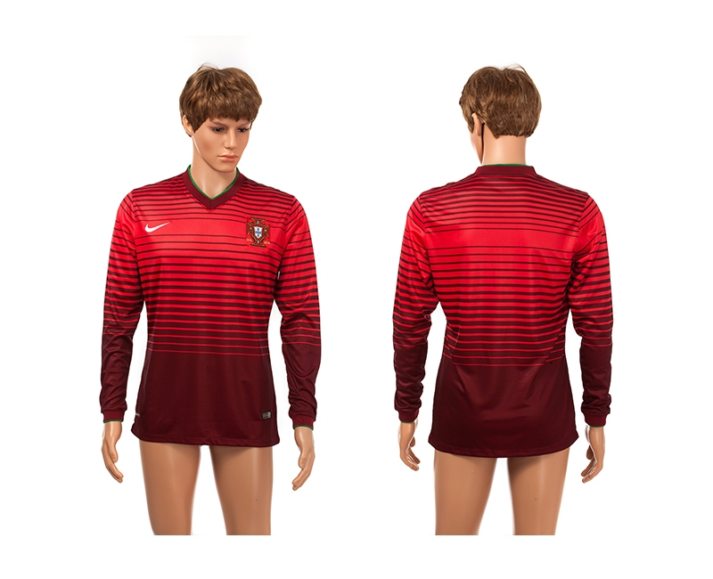 Portugal 2014 World Cup Home Long Sleeve Thailand Jerseys