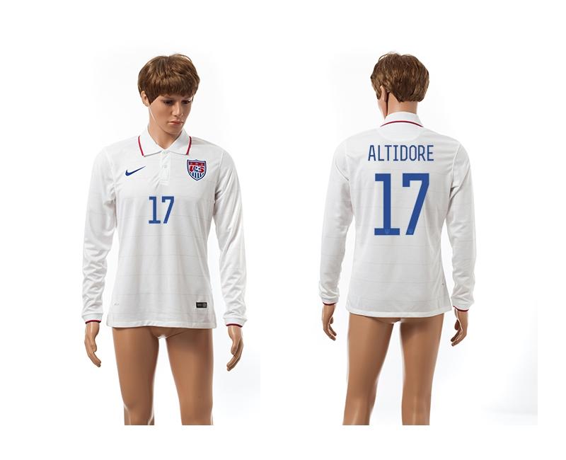 USA 17 Altidore 2014 World Cup Home Long Sleeve Thailand Jerseys