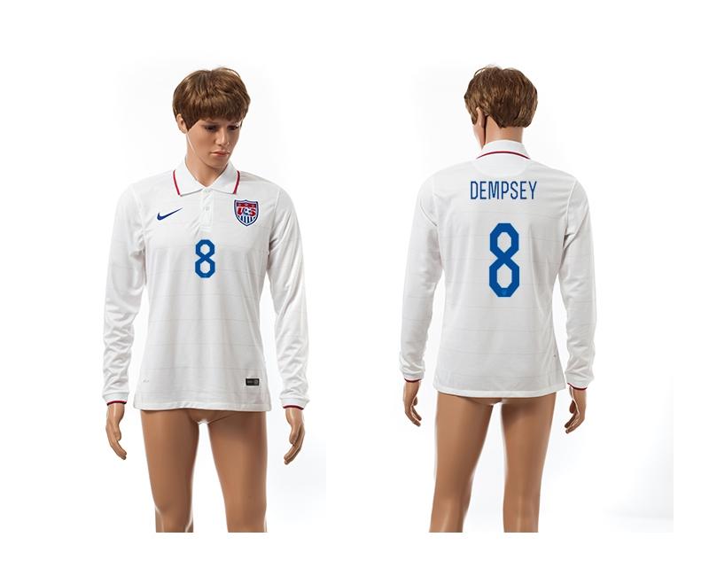 USA 8 Dempsey 2014 World Cup Home Long Sleeve Thailand Jerseys