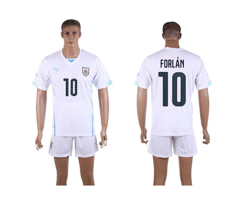 Uruguay 10 Forlan 2014 World Cup Away Soccer Jersey
