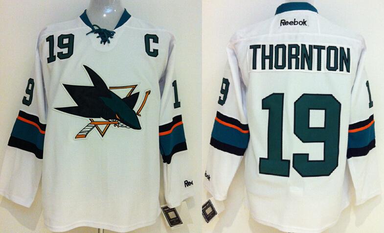 Sharks 19 Thornton White New Jerseys