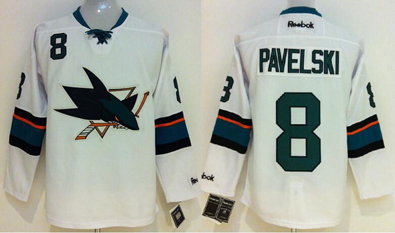 Sharks 8 Pavelski White New Jerseys