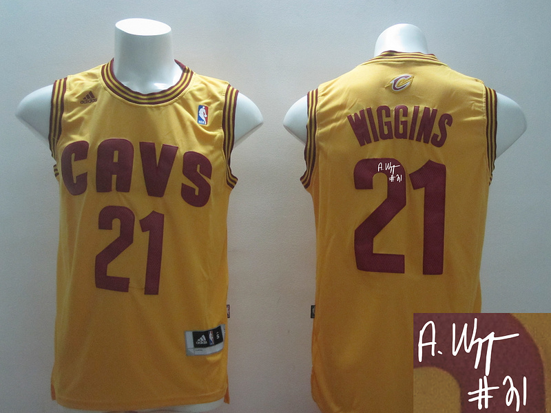 Cavaliers 21 Wiggins Gold Revolution 30 Signature Edition Jerseys