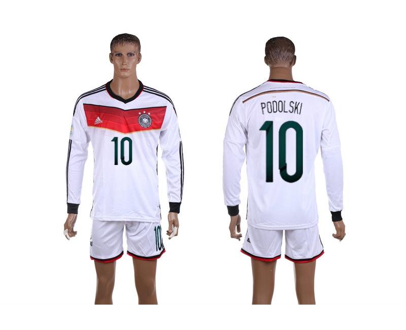 Germany 10 Podolski 2014 World Cup Home Long Sleeve Jerseys