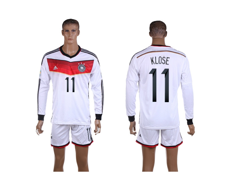 Germany 11 Klose 2014 World Cup Home Long Sleeve Jerseys