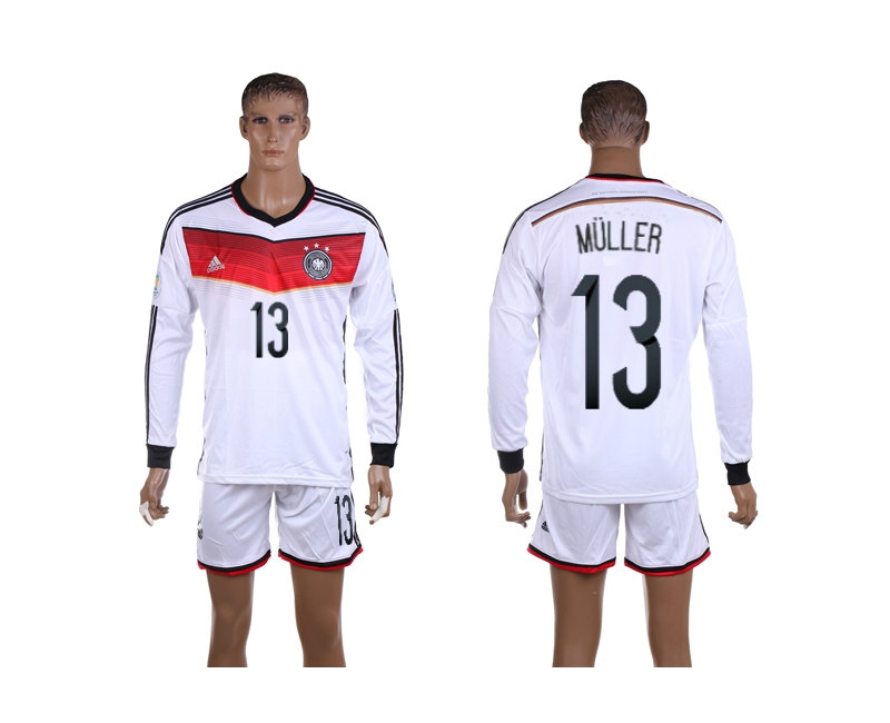 Germany 13 Muller 2014 World Cup Home Long Sleeve Jerseys