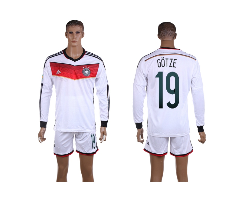 Germany 19 Gotze 2014 World Cup Home Long Sleeve Jerseys