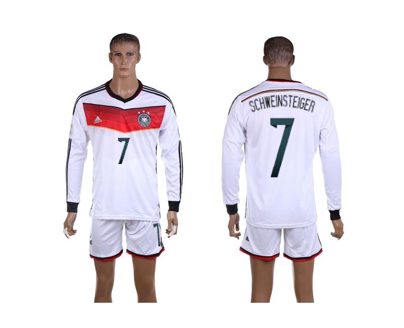 Germany 7 Schweinsteiger 2014 World Cup Home Long Sleeve Jerseys