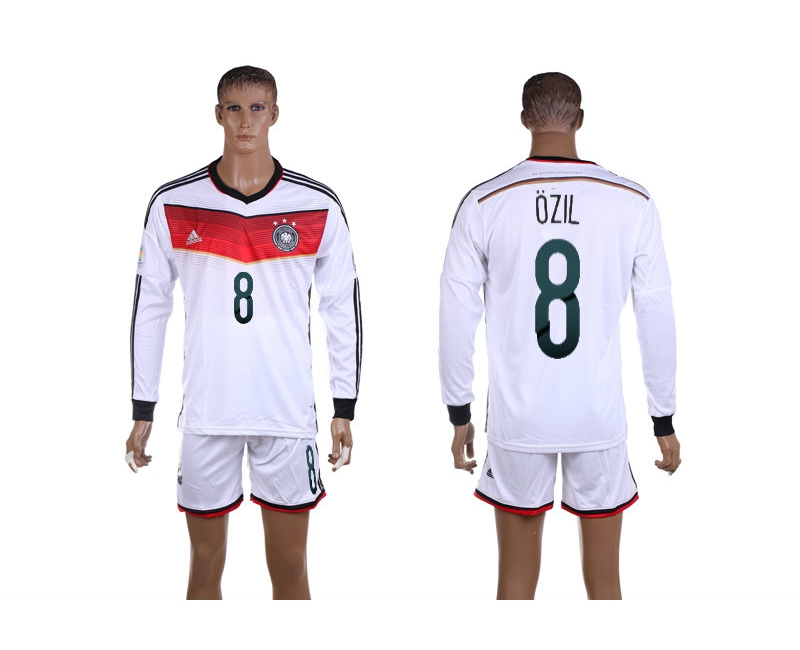 Germany 8 Ozil 2014 World Cup Home Long Sleeve Jerseys