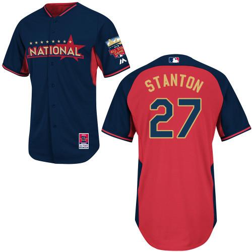 National League Marlins 27 Stanton Blue 2014 All Star Jerseys
