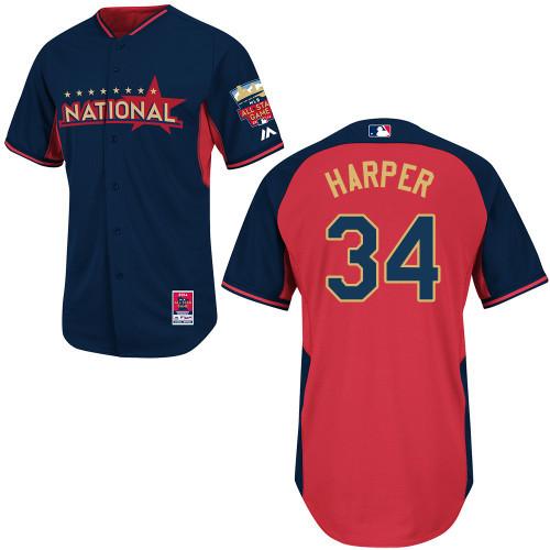 National League Nationals 34 Harper Blue 2014 All Star Jerseys