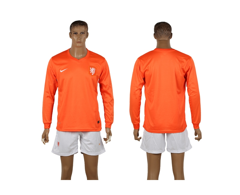 Netherlands 2014 World Cup Home Long Sleeve Soccer Jerseys