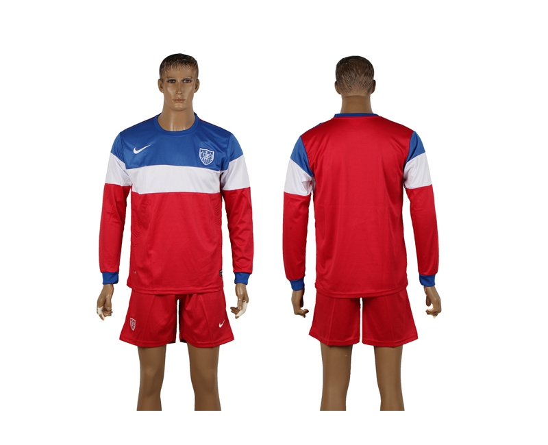 USA 2014 World Cup Away Long Sleeve Soccer Jerseys