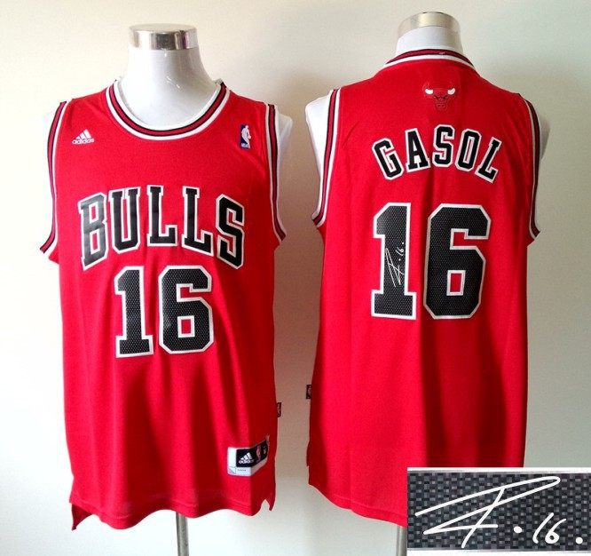 Bulls 16 Gasol Red Signature Edition Jerseys
