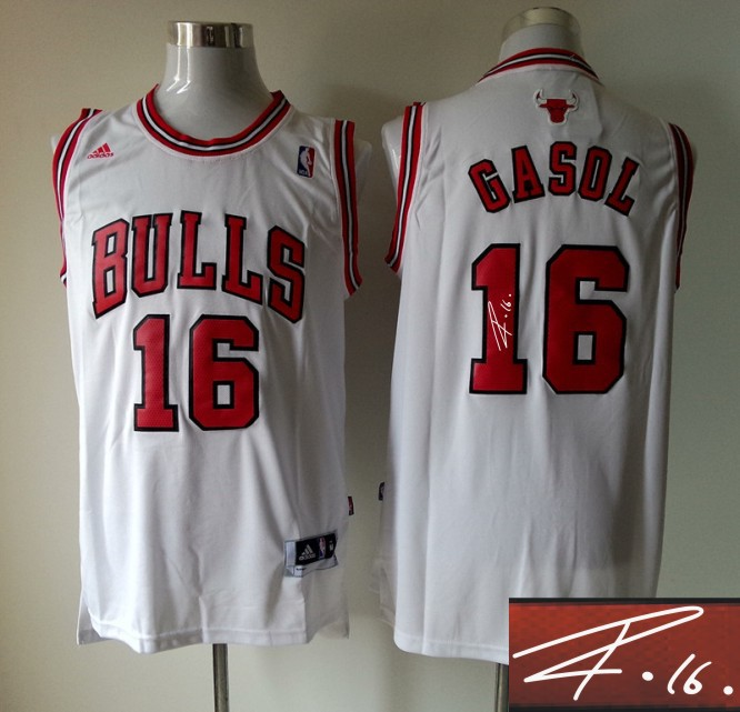 Bulls 16 Gasol White Signature Edition Jerseys